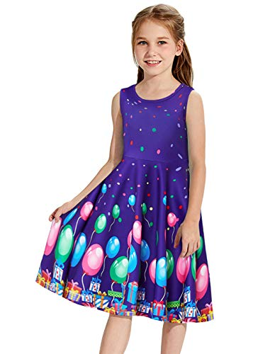 Kids Girls Sleeveless Dresses Adorable Polk Dot Playwear 3D Printed Green Blue Pink Balloon Dance Tunic for Teen Kids Spring Vintage Wiggles Blue Purple Costume Summer Juniors Girlly Shirt 10-13 Years -
