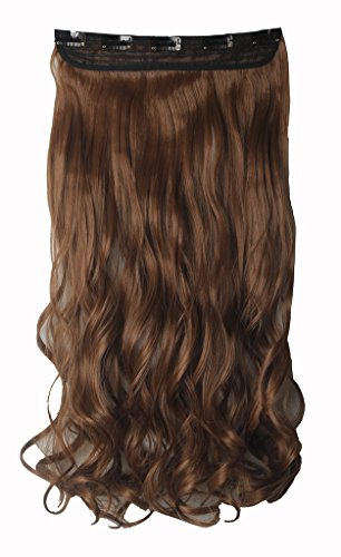FIRSTLIKE 29'' Inch Curly Light Brown Clip In Hair Extensions Thick 3/4 Full Head Long One Piece 5 clips Soft Women Beauty Hairpiece by FIRSTLIKE