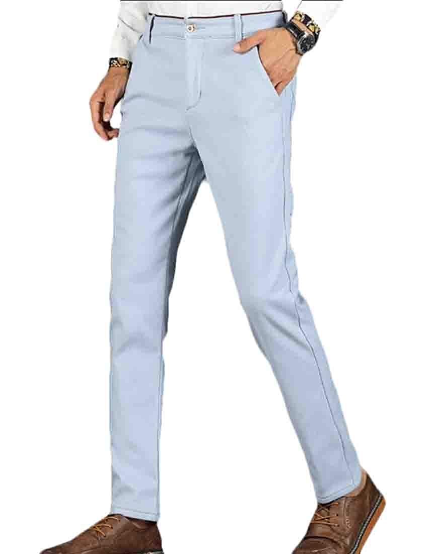 WSPLYSPJY Men Slim Fit Wrinkle Free Casual Stretch Dress Pant Flat Front Trousers