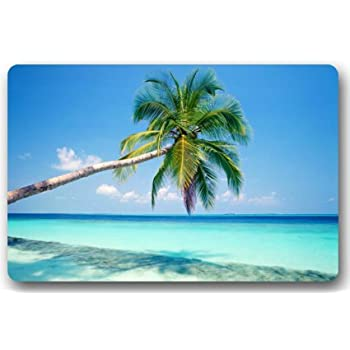Sandy Tropical Paradise Beach With Palm Trees And The Sea Ocean Theme Door  Mats Cover Non