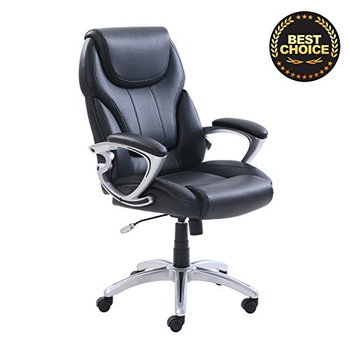 SuccessfulHome Ergonomic Office Chair, Bonded Leather Managers Chair, Home Office Chair Desk with Adjustable Reclining Angle – Leather Executive Computer Desk Chair, Black