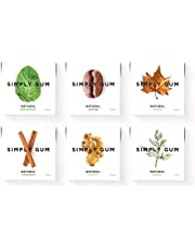 Simply Gum | Chewing Gum | Variety Pack - Peppermint, Cinnamon, Ginger, Fennel, Maple, Coffee | Plastic Free + Aspartame Free + Non-GMO