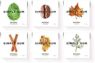 product image for Simply Gum | Natural Chewing Gum | Variety Pack - Originals | Pack of Six (90 Pieces Total) | Plastic Free + Aspartame Free + non GMO