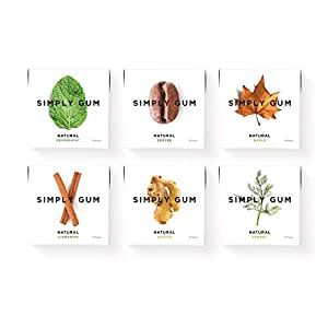 Simply Gum | Chewing Gum | Variety Pack - Peppermint, Cinnamon, Ginger, Fennel, Maple, Coffee | Vegan + non GMO | Pack of Six (90 Pieces Total)