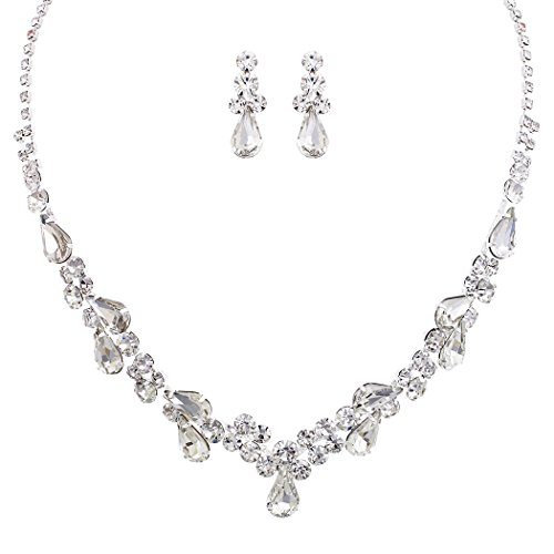 Silver Tone Necklace Earrings - Rosemarie Collections Women's Rhinestone Teardrop Statement Necklace Drop Earrings Set (Silver Tone/Clear)