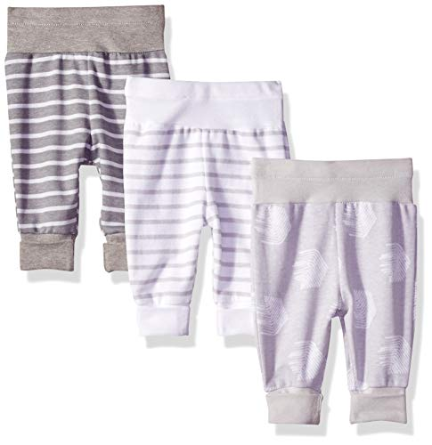 Hanes Ultimate Baby Flexy 3 Pack Adjustable Fit Knit Jogger Pants, Grey Stripe, 0-6 Months