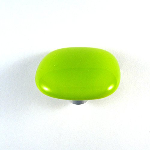 Lime Green Glass Cabinet Knob - Colormax Collection (118 colors) Rounded Square Green Glass Knobs 2PC