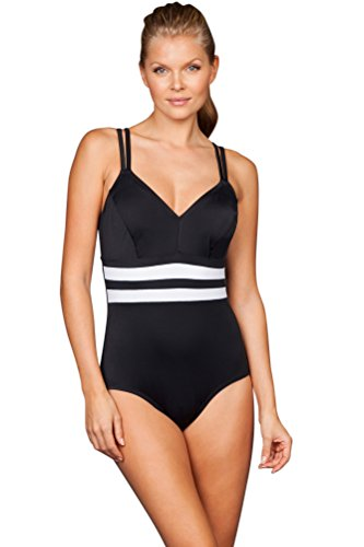 Reebok White Fast Lane V-Neck Double Strap One Piece Swimsuit Size 16 by Reebok