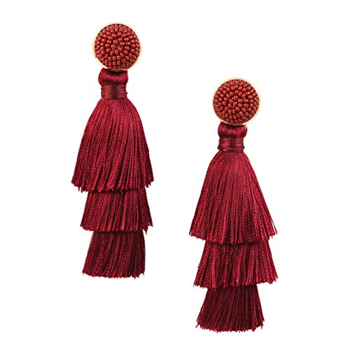 (RIVERTREE Womens Layered Tassel Earring Beaded Boho Statement Fringe | Burgundy 3 Tiered Long Vintage Chandelier Drop Dangle Earring)