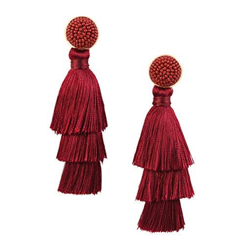 RIVERTREE Womens Layered Tassel Earring Beaded Boho Statement Fringe | Burgundy 3 Tiered Long Vintage Chandelier Drop Dangle Earring