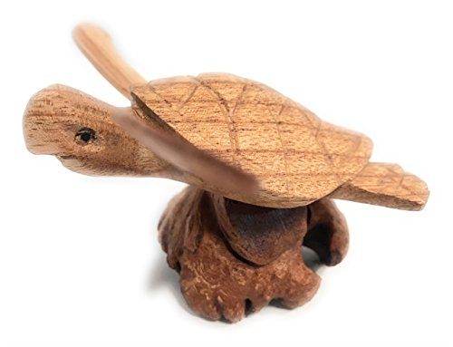 TikiMaster Swimming Sea Turtle w/Driftwood Base 5''H X 5''W - Carved | #non0410 by TikiMaster