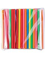 BrightDaily Heldere kleuren herbruikbare dunne rietjes voor cocktailstaafjes voor thuis pub kinderen drinken, 100 stuks theerietjes drinkrietjes