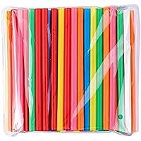 BrightDaily Heldere kleuren herbruikbare Jumbo Smoothie rietjes, dikke rietjes, 100 stuks zeepbel thee rietjes,Plat aan…