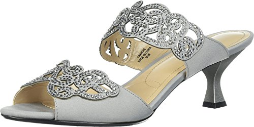 J. Renee Women's Francie Dress Slide,Silver Satin/Rhinestones,US 10 W