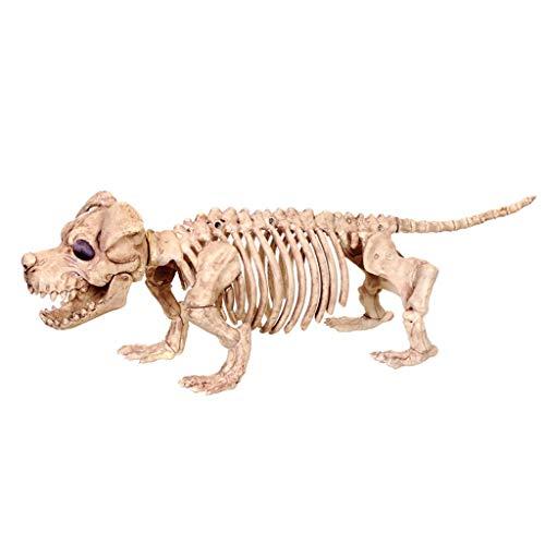 XXHDYR Halloween Horror Decorations Simulation Dog Skeleton Model Animals Skeleton Head Haunted House Bar Furnishing Props Halloween Supplies