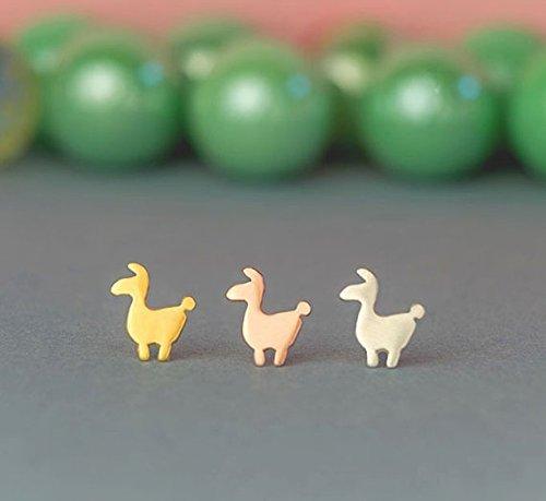 99d753936 Tiny llama Earrings Llama Studs sterling silver Allpace stud earrings Lama  gold studs Minimal Jewelry Kids Teen gift 0.0009 - Buy Online in UAE.