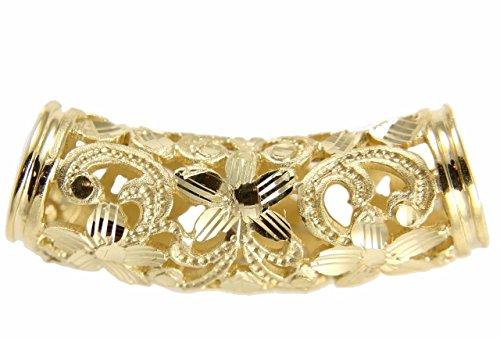 Arthur's Jewelry 14K solid yellow gold Hawaiian diamond cut plumeria scroll barrel slide pendant