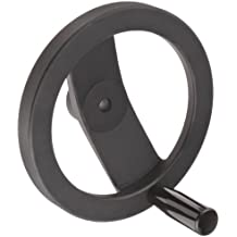 """2 Spoked Black Powder Coated Aluminum Dished Hand Wheel with Revolving Handle, 8"""" Diameter, 1/2"""" Hole Diameter (Pack of 1)"""