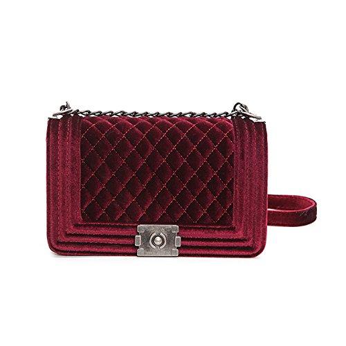Stephanie Big Handbag Quilted Chain Bag Blue Velvet Women Bags Pochette Sac Femme Women Shoulder Bags Crossbody Bags Red