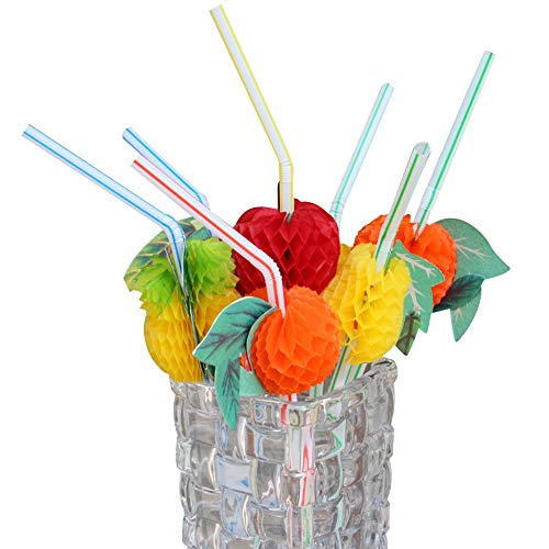 (Sonita3008 Plastic Straws for Tumblers 20Pc Novelty Paper Fruit Drink Decoration Straws Crazy Cocktails Straw Party Drinkware Barware Accessories)