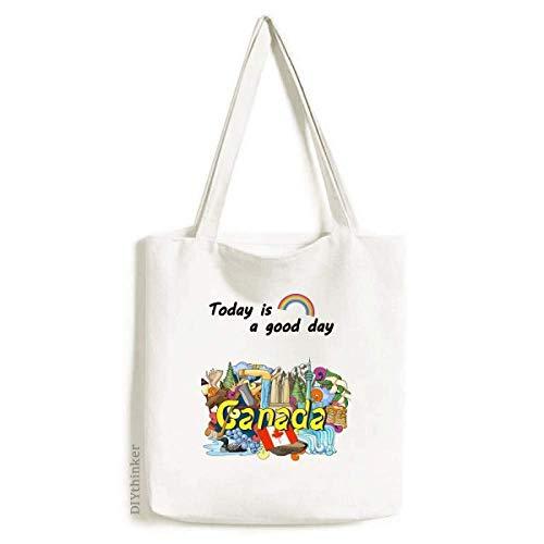 Rocky Mountains CN Tower Maple Canada Tote Canvas Bag Craft Washable Fashion Shopping Handbag