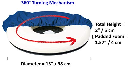 - ObboMed SS-2780 360° Rotation Compact Portable Swivel Donut Seat Cushion with Non-Skid ABS Base and Washable Cover, Easy Movement for Back, Hip, Tailbone Pain Suffers, Smaller Size 15