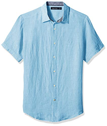 Nautica Men's Short Sleeve Classic Fit Solid Linen Button Down Shirt, Alaskan Blue XX-Large