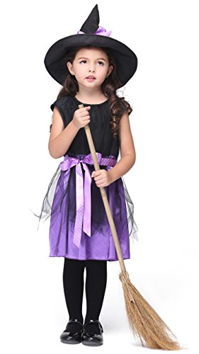 [Girlscos Girl's Witch Costume Dress 3 Piece Suit Kids Halloween Cosplay Costumes Large Purple] (Funny Ideas For Girl Halloween Costumes)