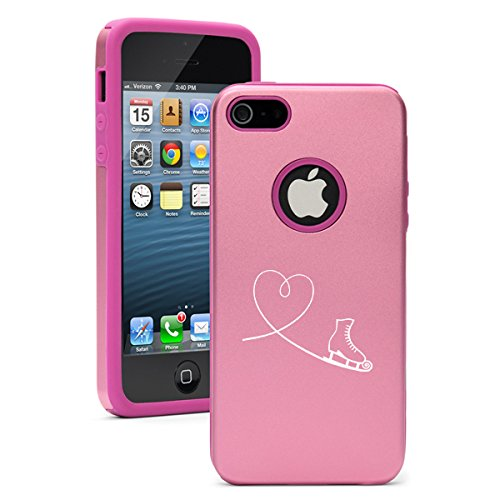 For Apple iPhone 5 5s Aluminum Silicone Dual Layer Hard Case Cover Heart Love Ice Skating (Pink) (Iphone 4s Ice Skating Case)