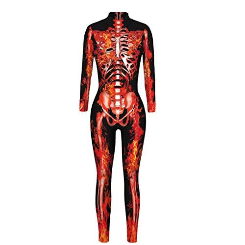 Szytypyl Womens Halloween Cosplay Costumes Skeleton 3D Print Bodysuit Sexy Tight Suit One-Piece Jumpsuit