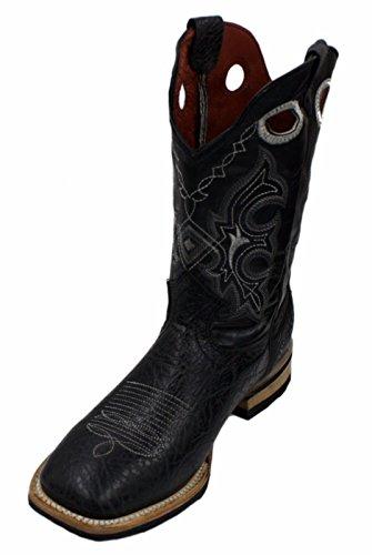 Men genuine bull shoulder leather square toe decarative shaft boots Black INVHlL