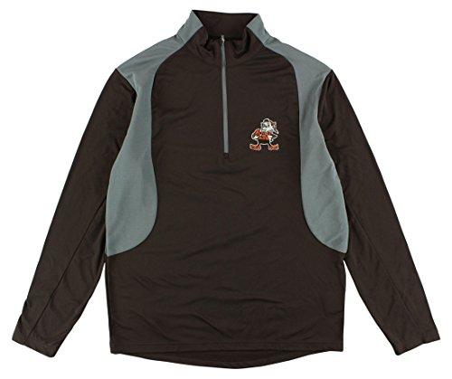 Antigua Mens Cleveland Browns Delta Quarter Zip Pullover Jacket Brown S