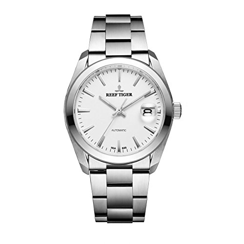 Reef Tiger Business Steel White Dial Automatic Watch with Big Date ()