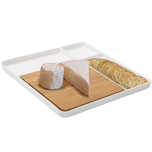 White Ceramic Divided Serving Platter Tray, Bamboo Cheese Board Serveware