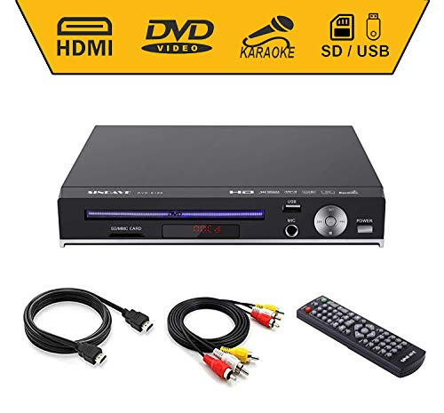 DVD Players, Compact DVDs Player Region Full HD Upscaling 1080p UpConverting DivX, USB Direct Recording and Playback, SD Cardreader Karaoke Mic Port (HD DVD Player)