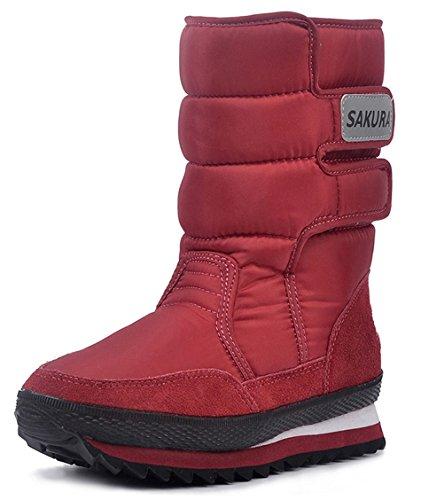 DADAWEN Womens Waterproof Frosty Snow Boot Red XRDYCPzy