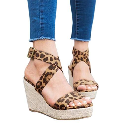 (Womens Wedge Platform Espadrille Strappy Sandals Cross Ankle Strap Slingback Open Toe High Heel Summer Sandals)