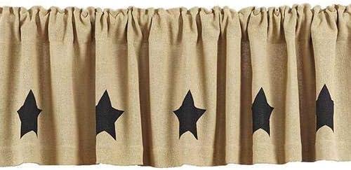 "BURLAP BLACK STAR Cotton Country Primitive Rustic Unlined 63/""L PANEL CURTAINS"