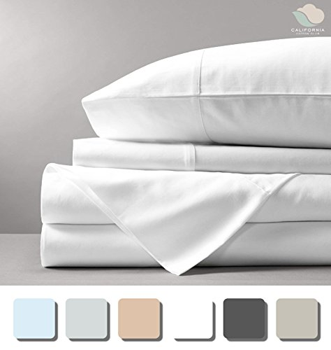 600 Thread Count Sheet Set (White, Queen, 100% Cotton Sheets) 17 inch Deep Pockets, Marrow-Stitch Hem, 100% Long-Staple Combed U.S. Cotton, Soft Sateen Weave Bedsheets by California Cotton (17 Deep Pocket)