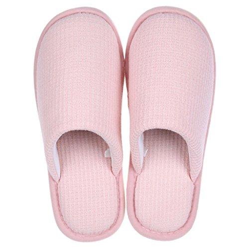 Zapatillas DWW Femeninas de Algodón de Invierno Acolchado Zapatos Antideslizantes de Interior Cálido Hogar Pink