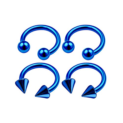 4Pcs Blue Anodized 16g 1/4 6mm Cartilage Earring Horseshoe Hoop Piercing Jewelry Tragus Nose Rook Eyebrow 3mm Ball Cone M4943