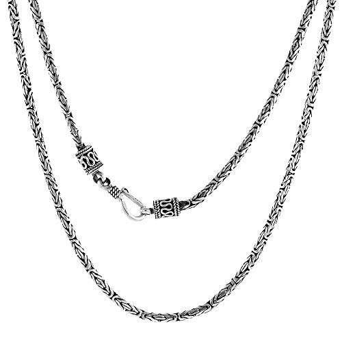 2.5mm Sterling Silver Round BYZANTINE Chain Necklace Antiqued Finish Nickel Free 26 inch