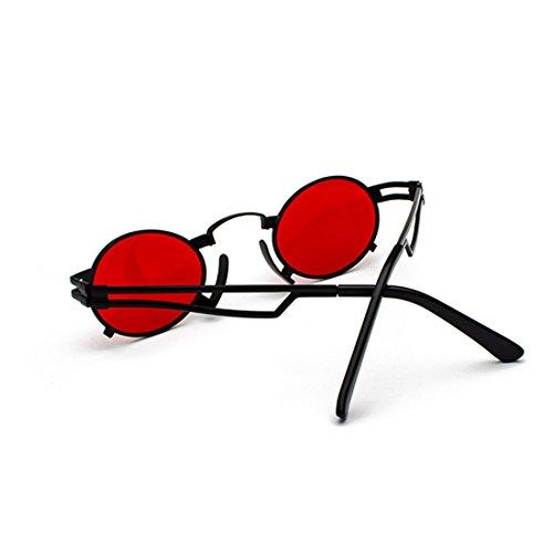 Men metálico Negra gafas sol gafas pequeñas de marco de UV400 sunglasses ovaladas redondas Película Vintage sunglasses Caja Yefree dIvwpxq7TT