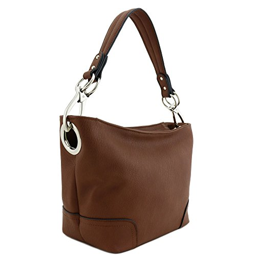 Hobo Shoulder Bag with Snap Hook Hardware Small (Brown)