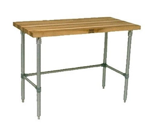 John Boos JNB01 Maple Top Work Table with Galvanized Base and Bracing, 36