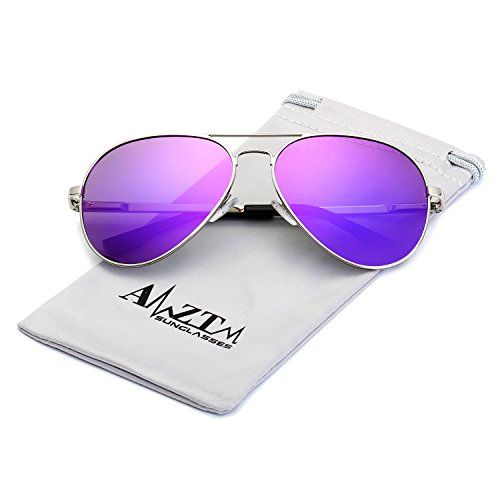 AMZTM Top Quality Driving Shades Classic Eyewear Retro Fashion Double Bridge Metal Frame Mirrored Reflecive REVO Polarized Lens Women And Men Designer Aviator Sunglasses (Silver Frame Purple Lens, - Sunglasses Mens Purple