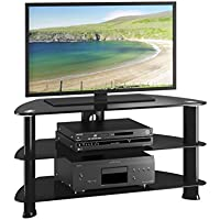 CorLiving TRL-401-T Laguna Satin Black Corner TV Stand Glass Shelves, for TV Up To 50
