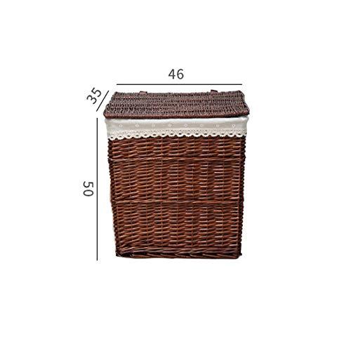衣服、浴室用品、玩具などを格納するためのふたのデザインが施された大きなクリエイティブな籐ランドリー収納バスケットそれは取り外し可能な裏地付きの厚い籐製です。から選択するさまざまなスタイルがあります。色はワインレッド (色 : D) B07QCZQ3GL D