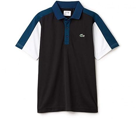 Lacoste - Corta para Ribbed Collar Hombre Tenis Polo, Negro ...