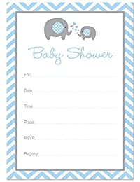24 Cnt Blue Elephant Baby Fill-in Invitations BOBEBE Online Baby Store From New York to Miami and Los Angeles